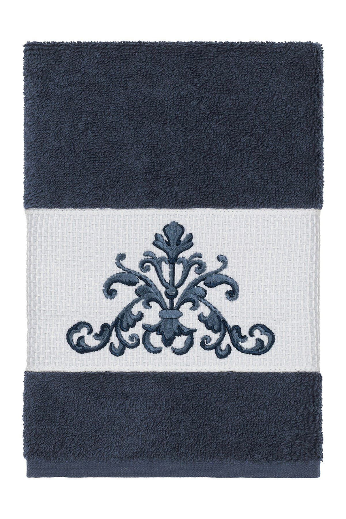 Image of LINUM HOME Scarlet Embellished Hand Towel - Midnight Blue