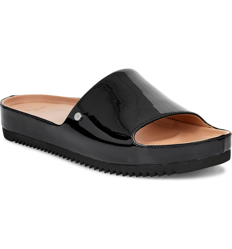 UGG<SUP>®</SUP> Jane Platform Slide Sandal, Main, color, BLACK PATENT LEATHER