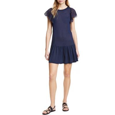 Rebecca Taylor Eyelet Sleeve Jersey Minidress, Blue