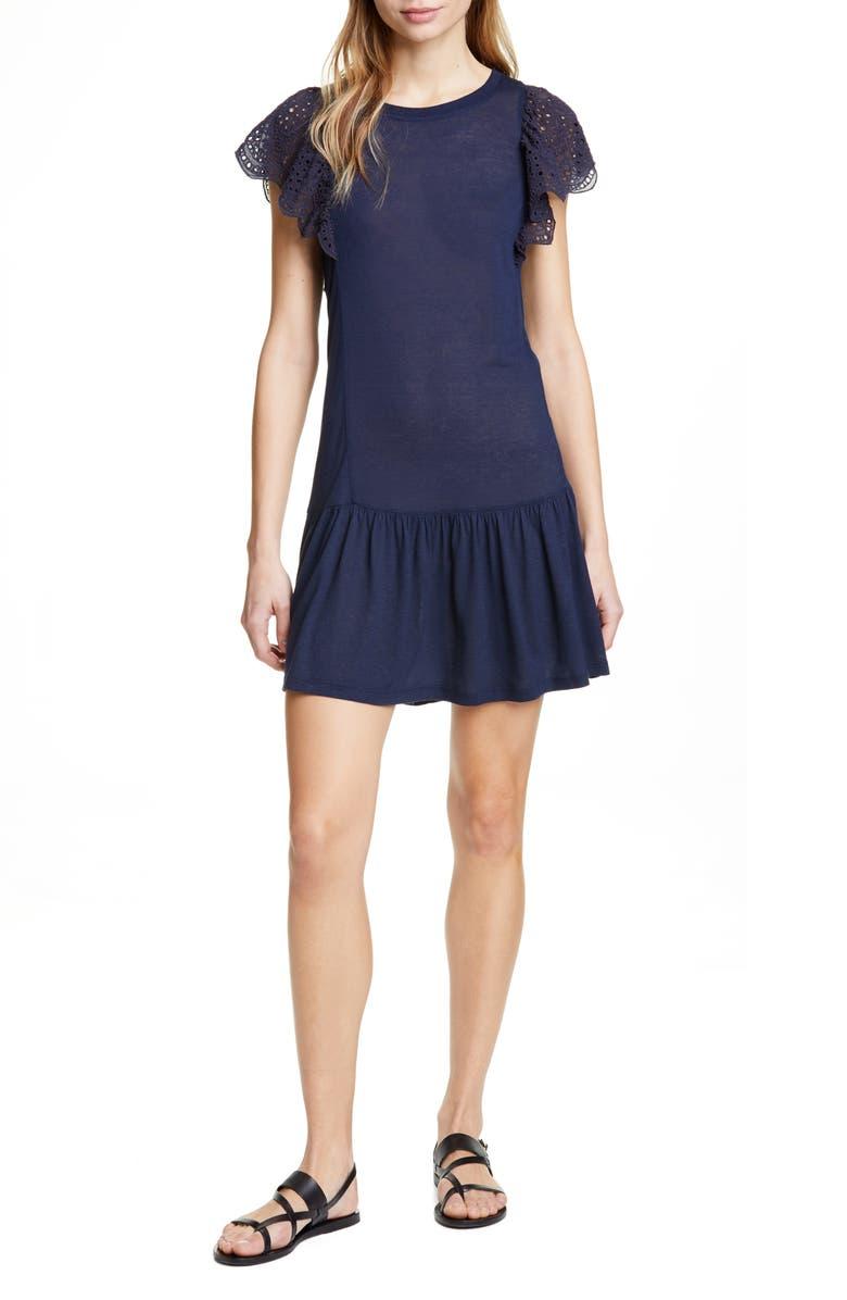 REBECCA TAYLOR Eyelet Sleeve Jersey Minidress, Main, color, NAVY