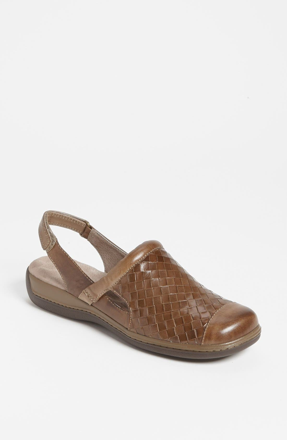 A burnished leather clog with a woven, hand-finished upper fuses effortless style with all-day comfort. SoftWalk\\\'s patented eggcrate footbed keeps your heels happy, while a thick wedge adds a smidge of stature. Style Name: Softwalk \\\'salina\\\' Clog. Style Number: 901259 1. Available in stores.