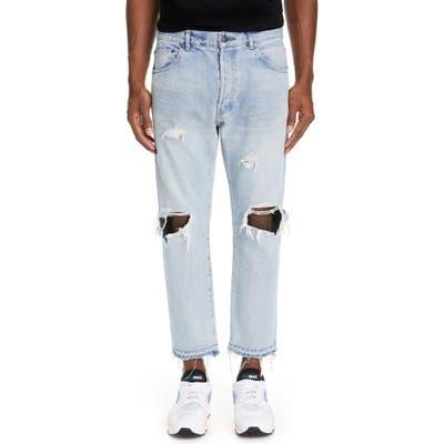John Elliott The Kane 2 Ripped Slim Fit Crop Jeans, Blue
