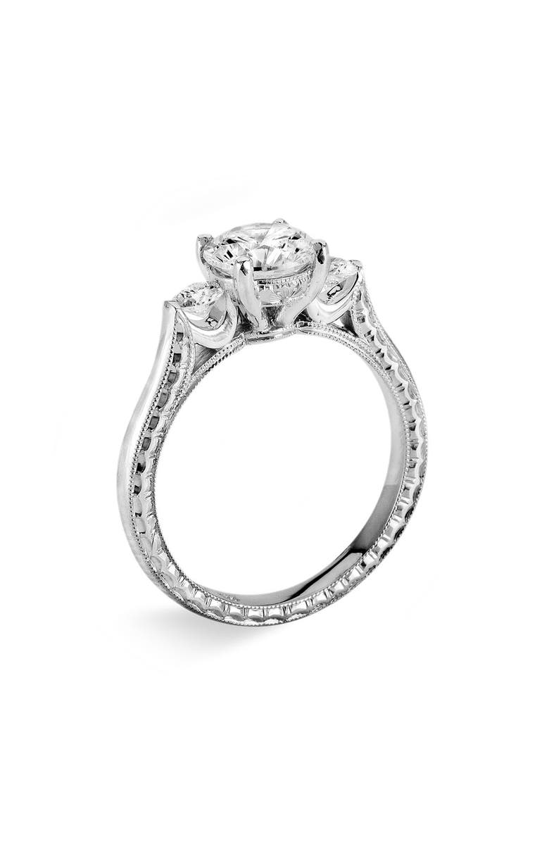 JACK KELÉGE 'Silhouette' Platinum 3-Stone Engagement Ring Setting, Main, color, 040