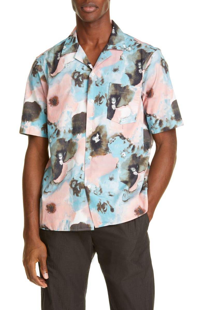 PRESIDENT'S Rangi P's Short Sleeve Button-Up Camp Shirt, Main, color, PINK