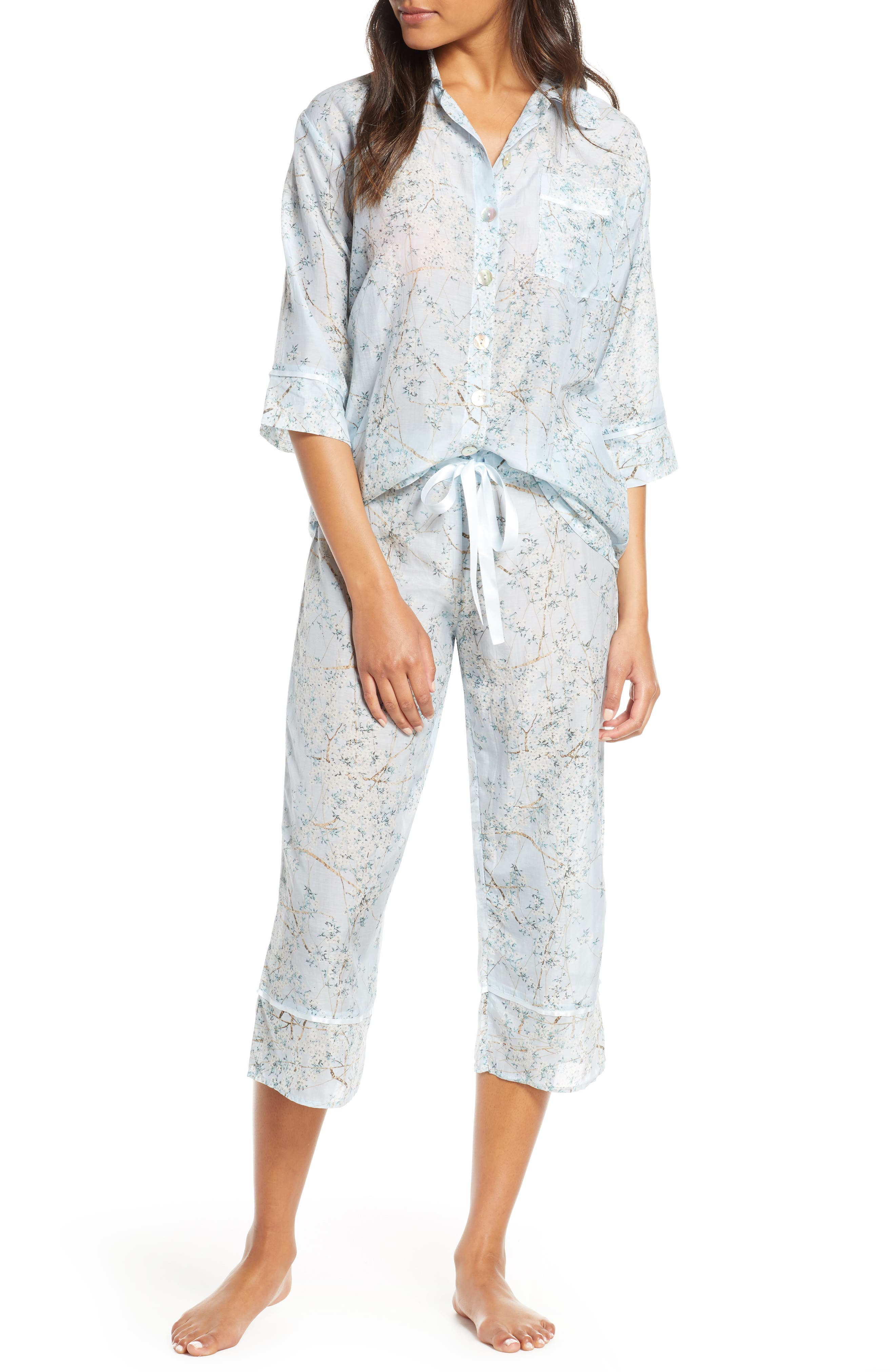 Papinelle Cherry Blossom Cotton & Silk Crop Pajamas, Blue