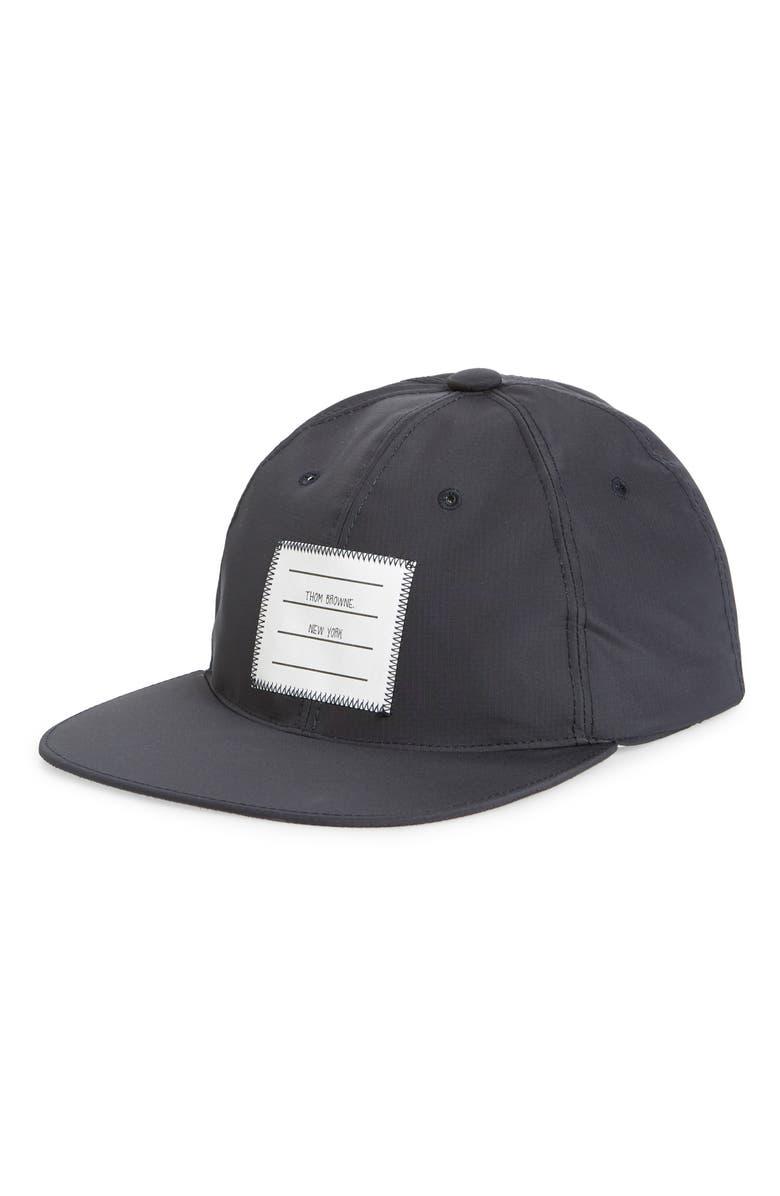 THOM BROWNE ID Label Baseball Cap, Main, color, NAVY