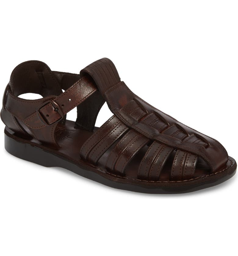 JERUSALEM SANDALS Barak Fisherman Sandal, Main, color, BROWN LEATHER