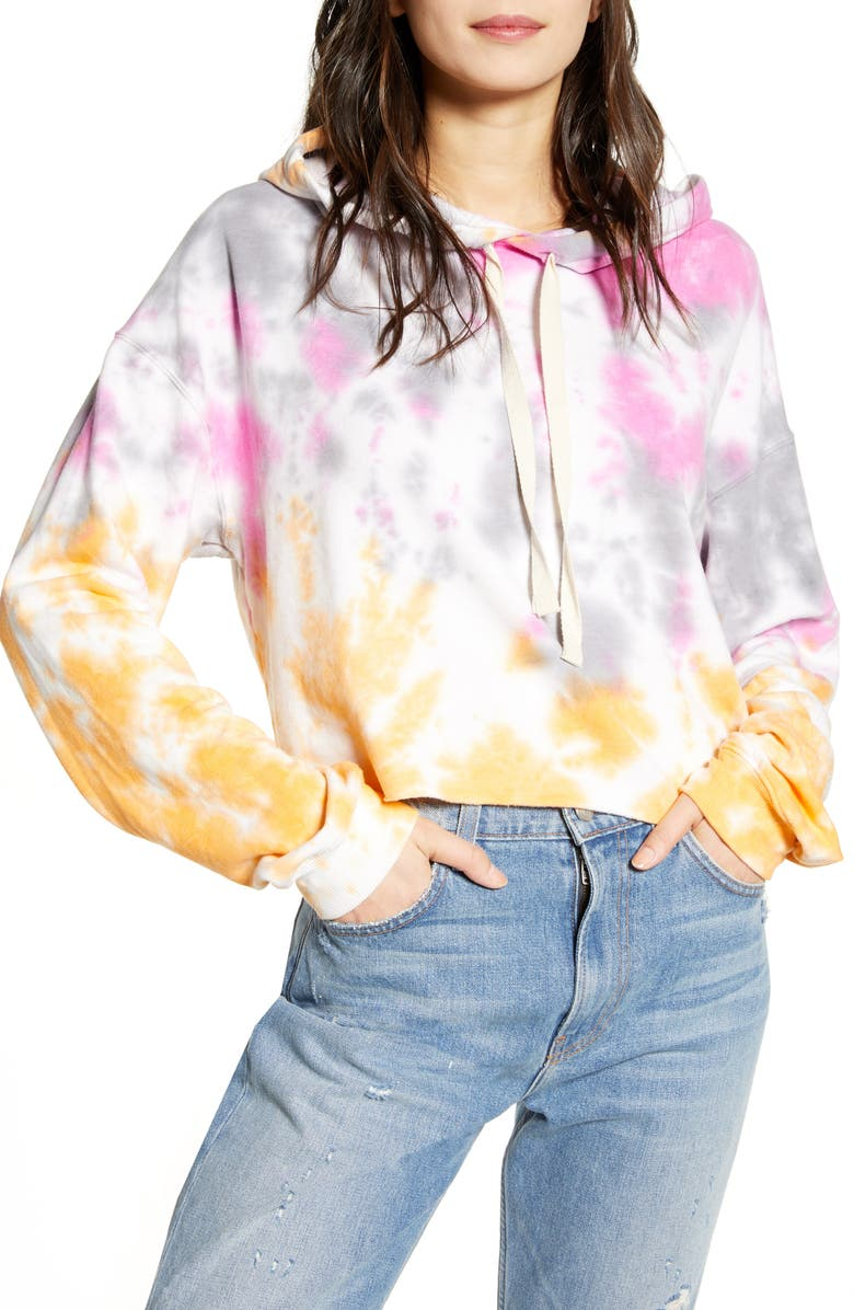 RECYCLED KARMA Tie Dye Crop Hoodie, Main, color, GUACARA