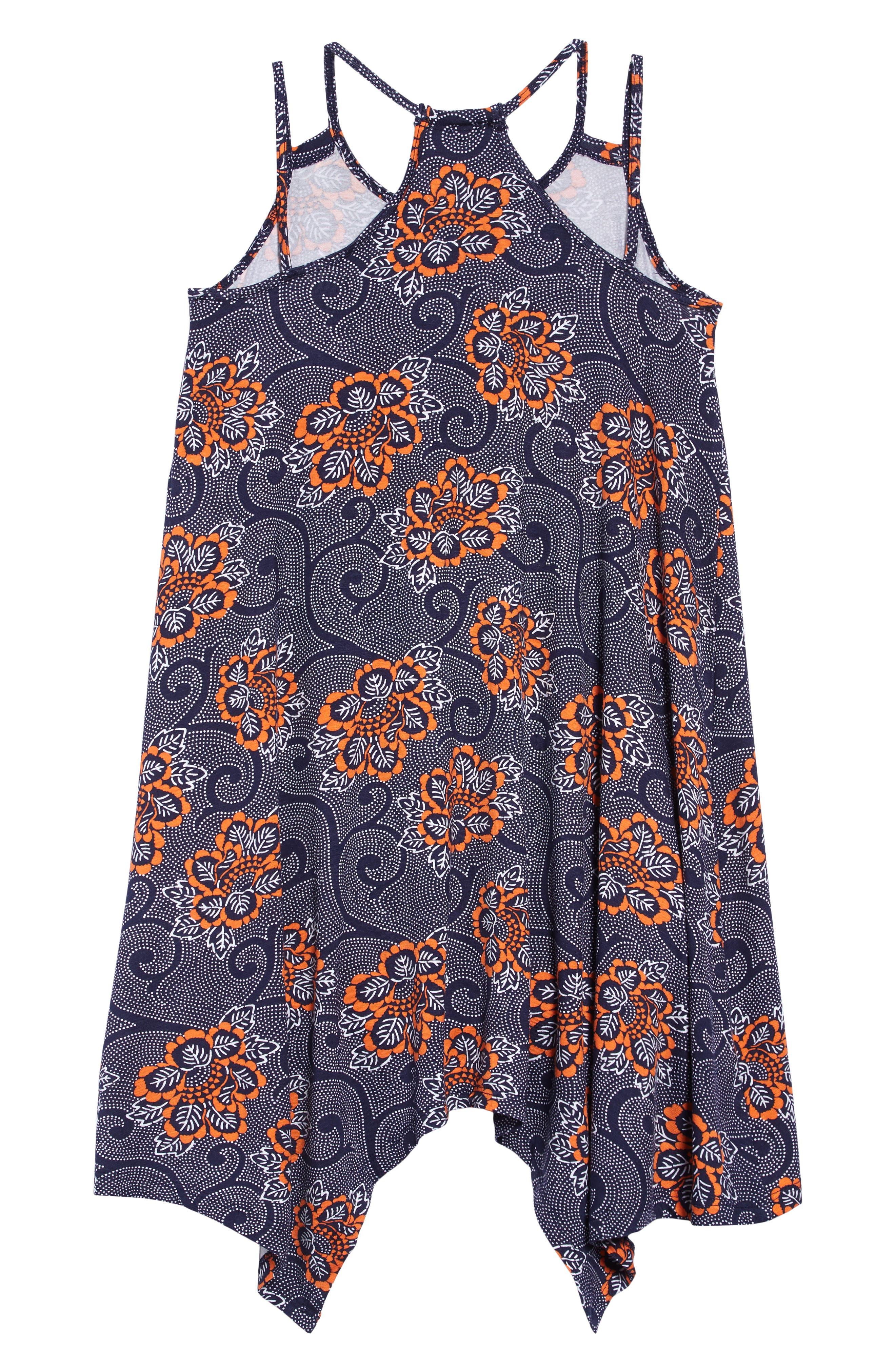 ,                             Print Handkerchief Hem Dress,                             Alternate thumbnail 2, color,                             NAVY PEACOAT PIAZZA FLORAL