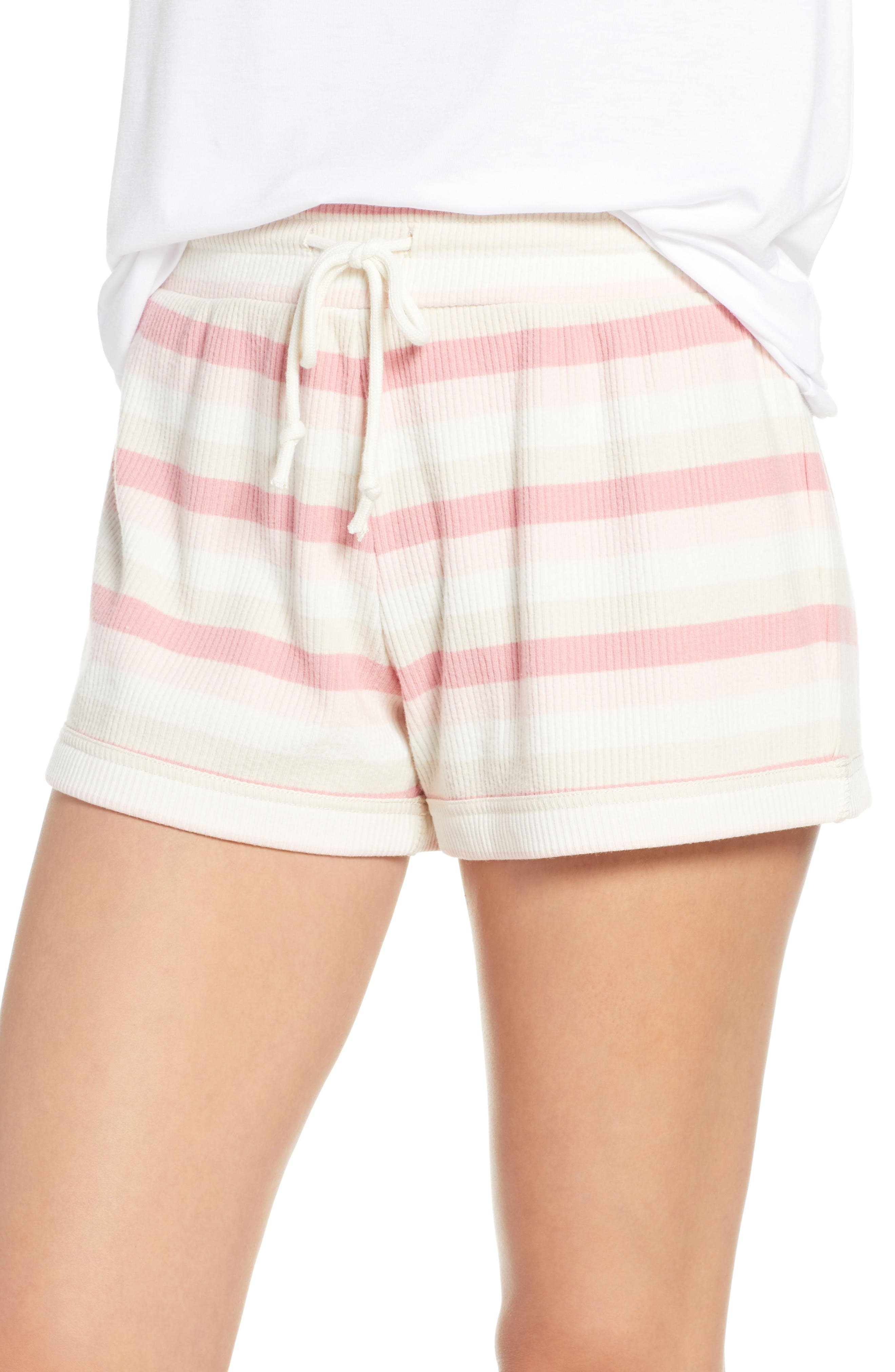 Something Navy Ribbed Pajama Shorts, Ivory (Nordstrom Exclusive)