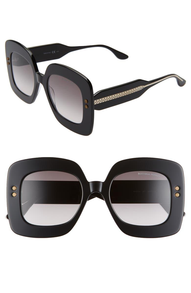 BOTTEGA VENETA 50mm Gradient Square Sunglasses, Main, color, 001