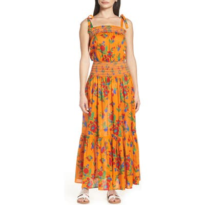 Tory Burch Smocked Cover-Up Maxi Dress, Orange