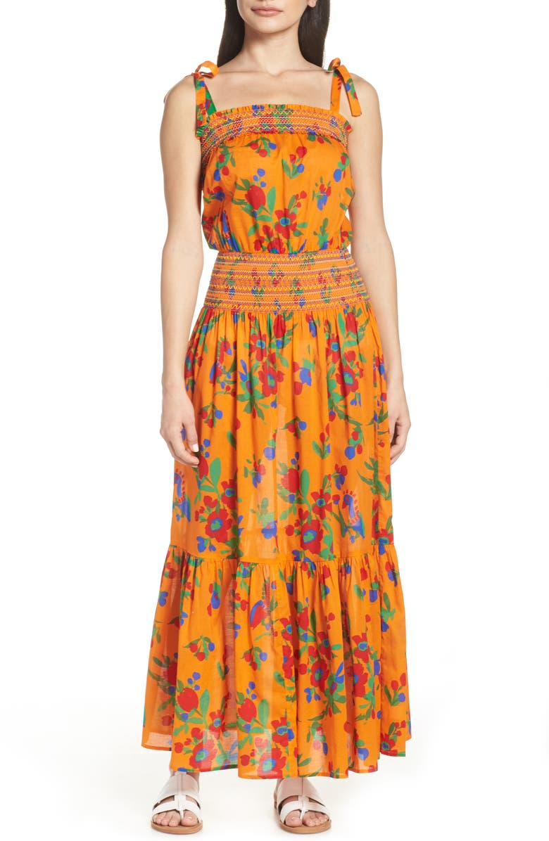 TORY BURCH Smocked Cover-Up Maxi Dress, Main, color, TOUCAN FLORAL
