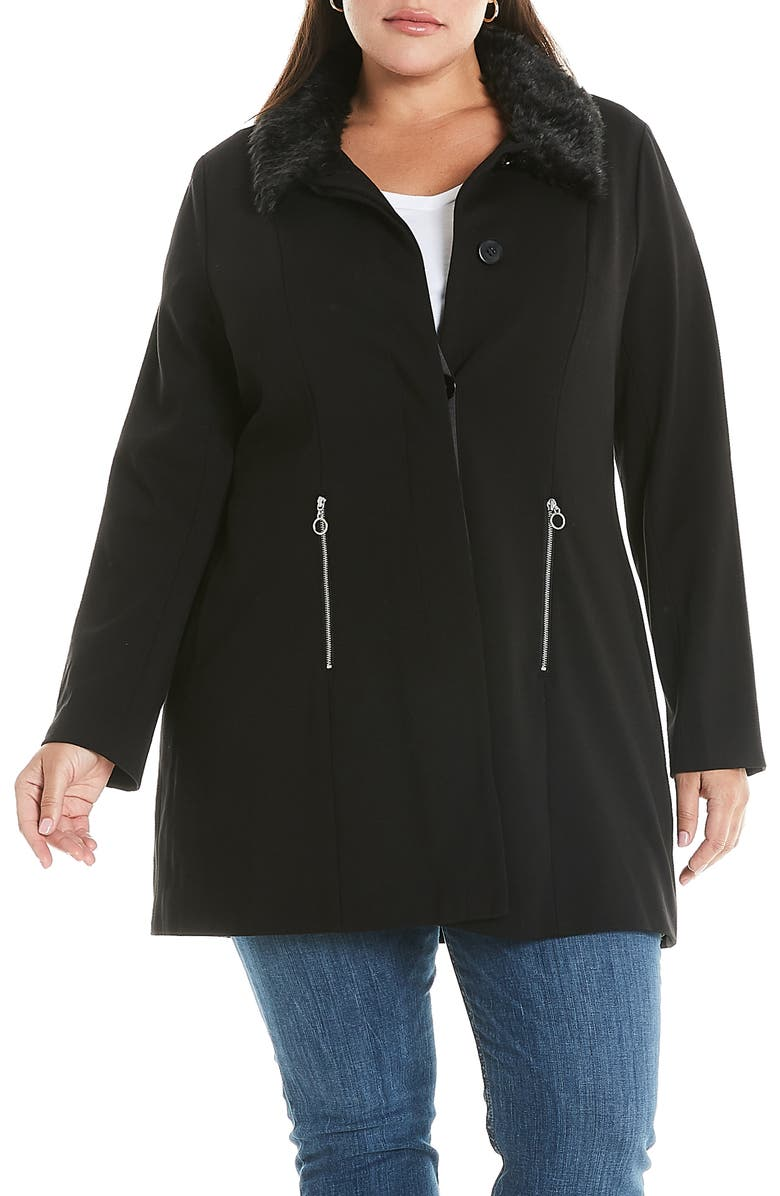 ESTELLE Atlantic Faux Fur Trim Coat, Main, color, DARK GREY/ BLACK
