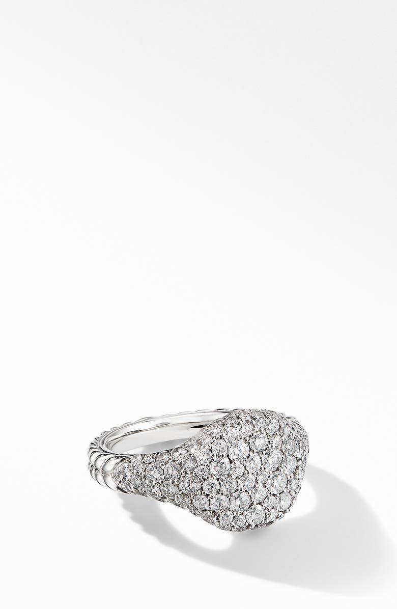 DAVID YURMAN Mini Chevron Pinky Ring in 18K Gold with Pavé Diamonds, Main, color, DIAMOND