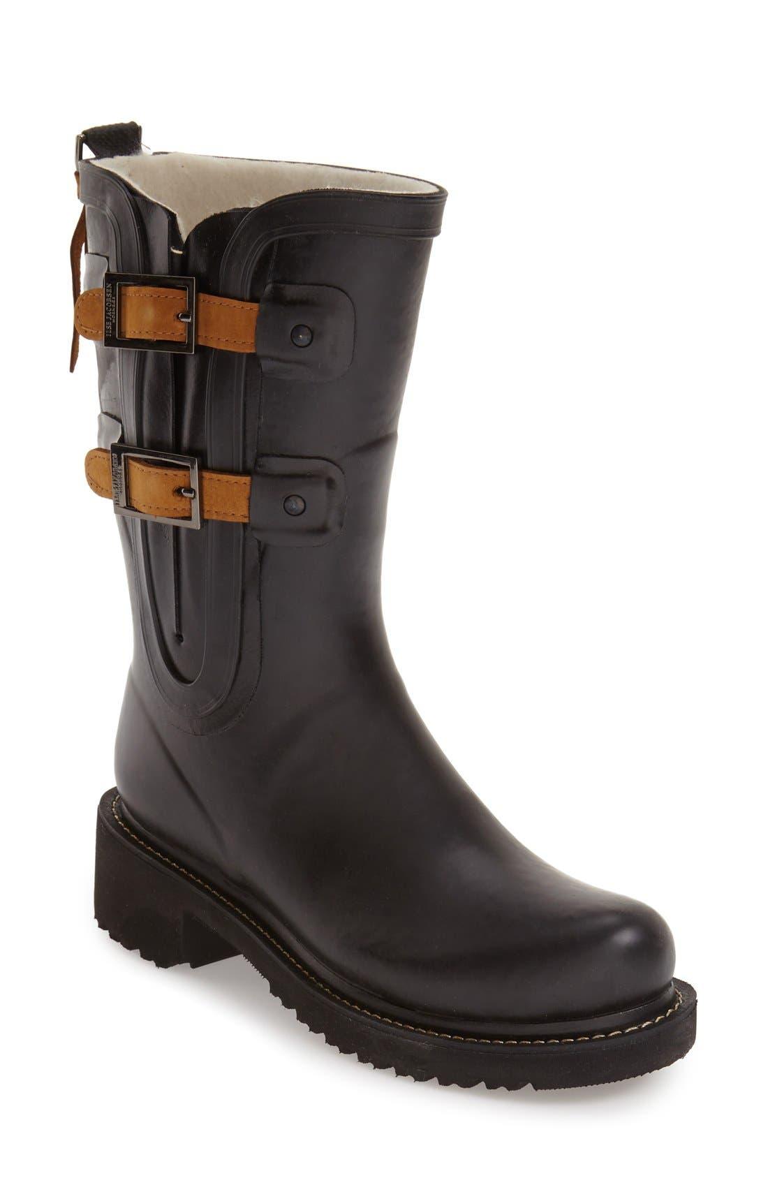 Waterproof Buckle Detail Snow/Rain Boot, Main, color, BLACK