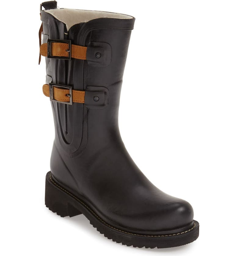 ILSE JACOBSEN Waterproof Buckle Detail Snow/Rain Boot, Main, color, 001