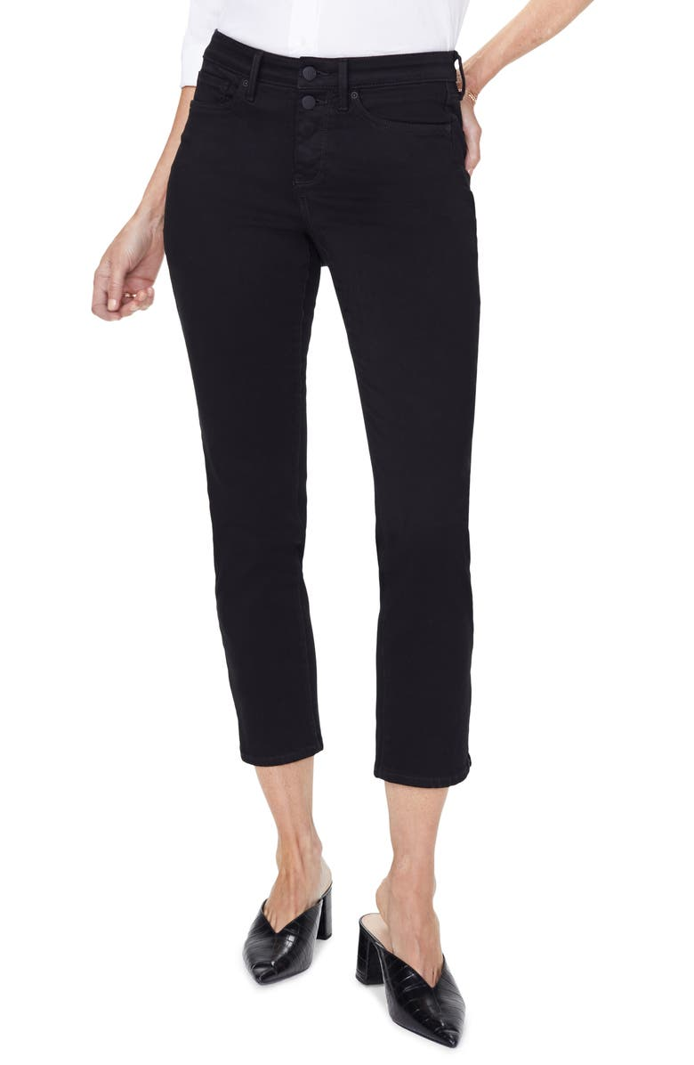 NYDJ Sheri High Waist Slim Fit Crop Jeans, Main, color, BLACK