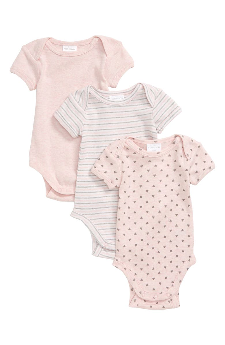 NORDSTROM BABY 3-Pack Bodysuits, Main, color, PINK BABY MULTI PACK