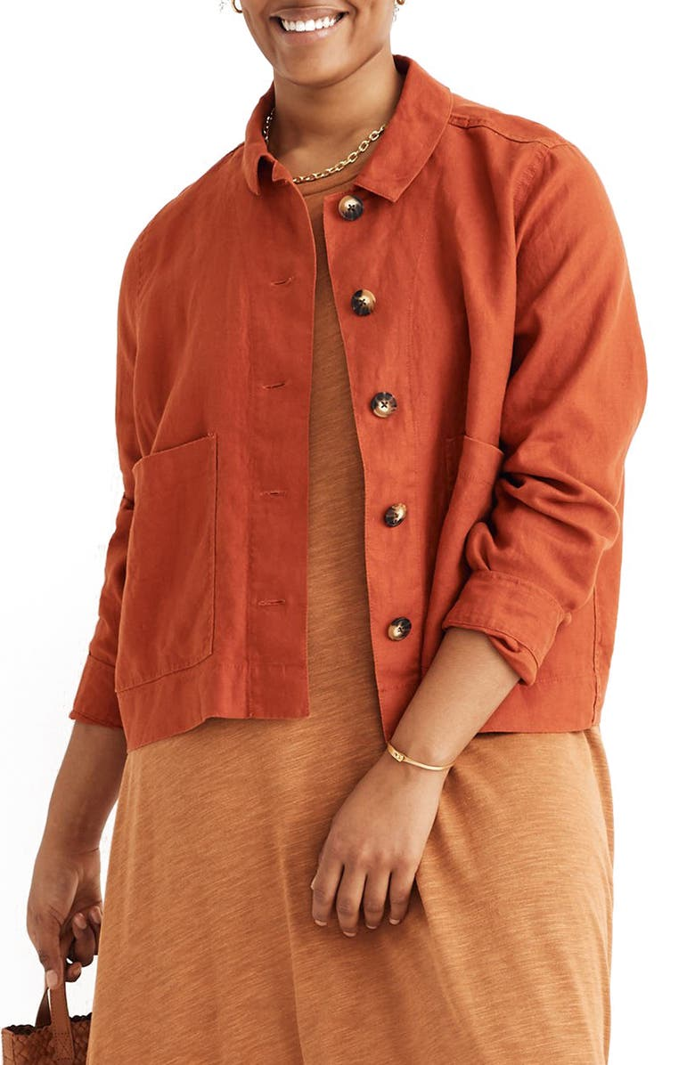 MADEWELL Connor Crop Linen Chore Jacket, Main, color, 200