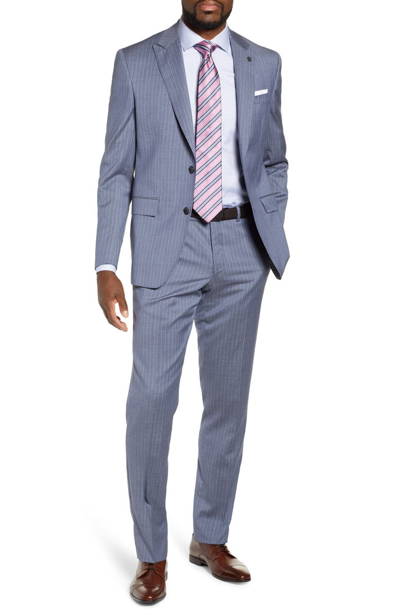 TED BAKER LONDON Jacob Trim Fit Stripe Wool Suit, Main, color, 450