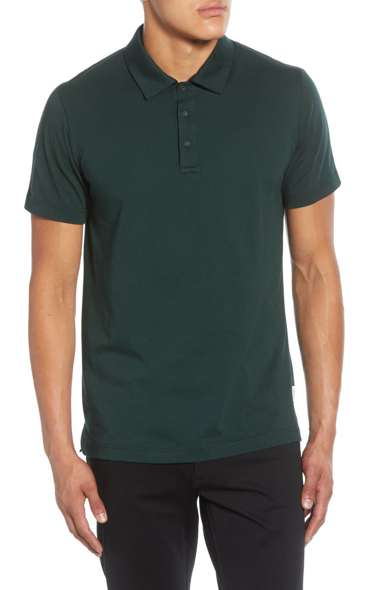 REIGNING CHAMP Solid Jersey Polo, Main, color, FOREST GREEN