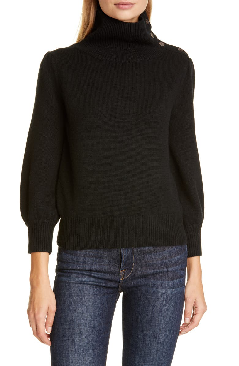CO Button Detail Wool & Cashmere Sweater, Main, color, BLACK