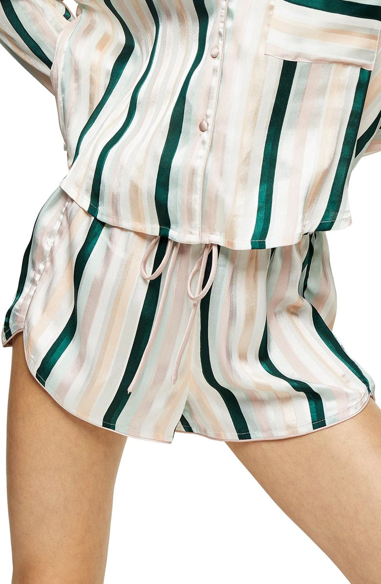 TOPSHOP Stripe Satin Pajama Shorts, Main, color, GREEN MULTI