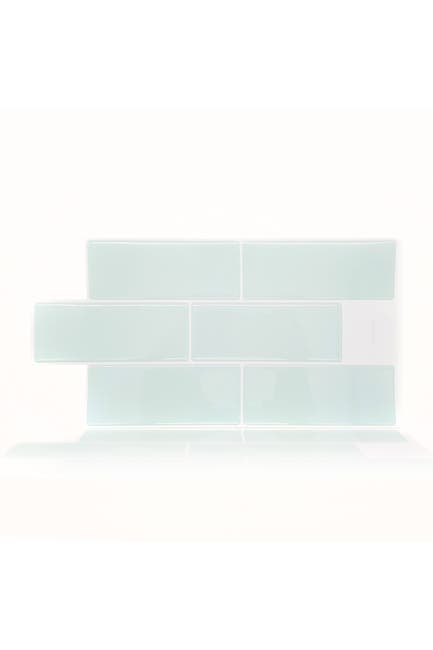 """Image of WalPlus Serenity Light Blue Glossy 3D Sticker Tile - 30.5cm x 15.4cm (12"""" x 6"""") - 12-Piece in a pack"""