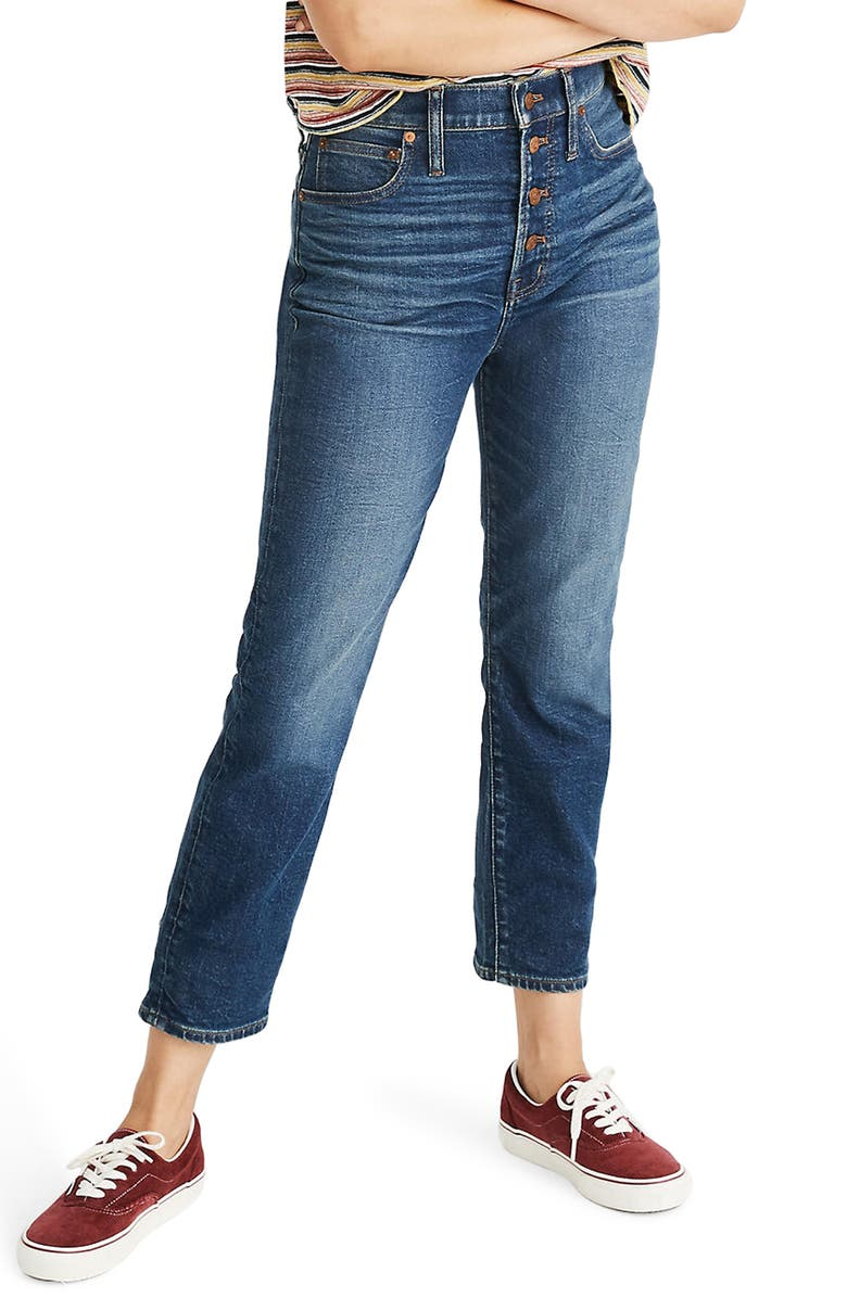 MADEWELL The Perfect Button Front Jeans, Main, color, CLEARVIEW WASH
