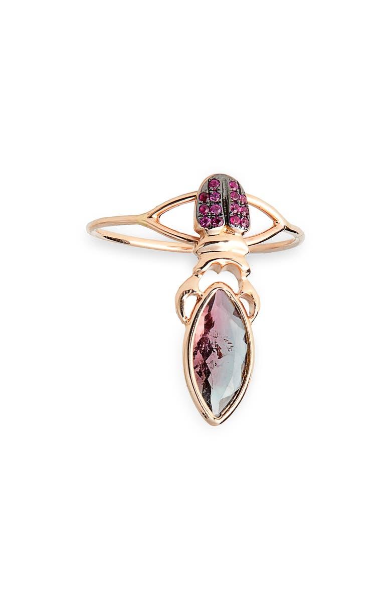 DANIELA VILLEGAS Khepri Tourmaline & Ruby Ring, Main, color, GOLD
