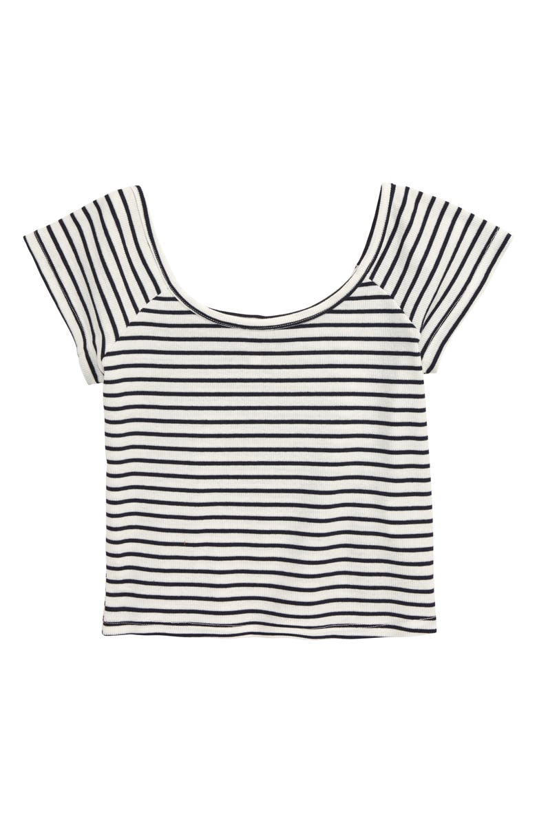 SEED HERITAGE Scoop Neck Rib Crop Top, Main, color, MIDNIGHT STRIPE
