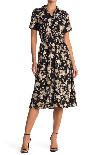 Image of London Times Floral Midi Shirt Dress