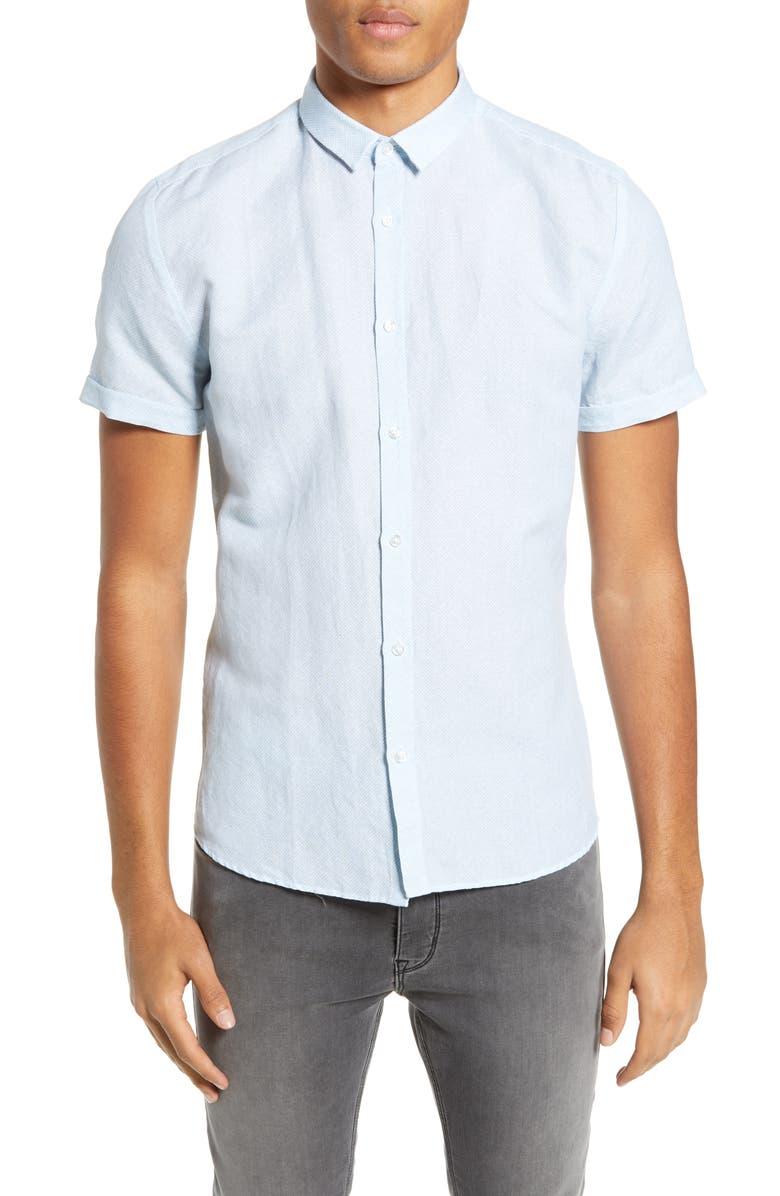 HUGO Empson Slim Fit Linen & Cotton Woven Shirt, Main, color, LIGHT BLUE