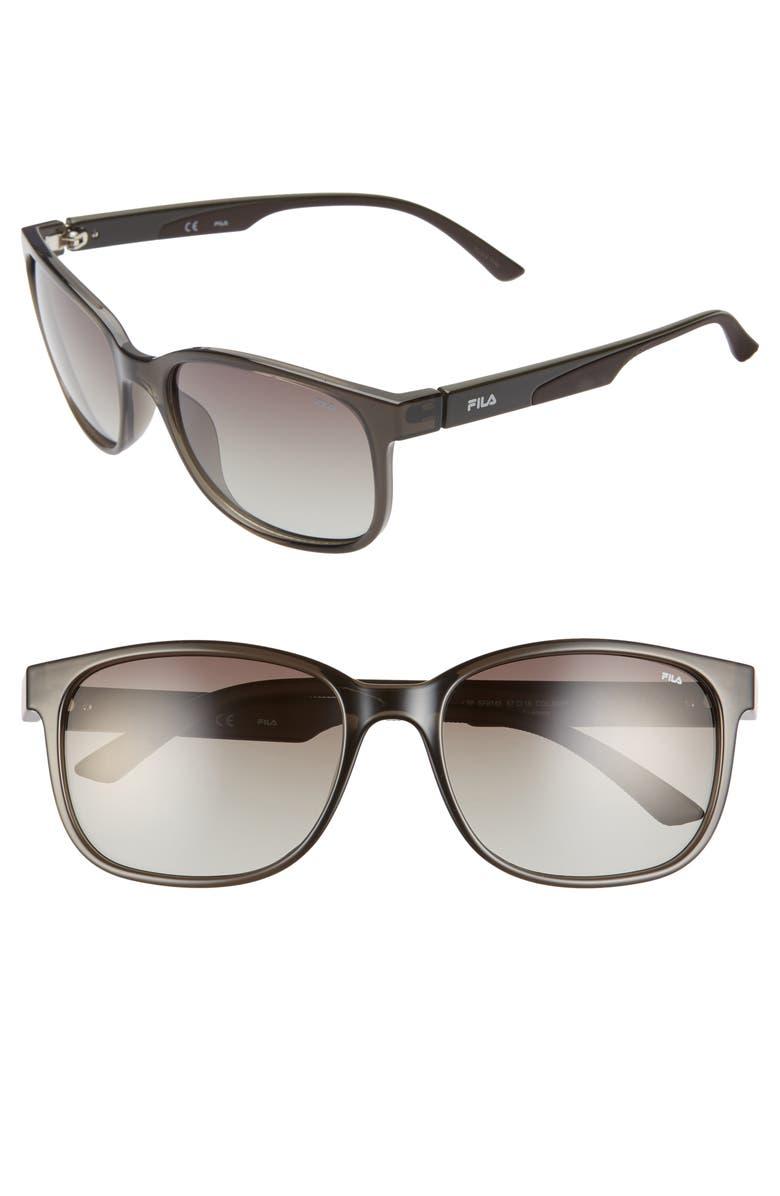 FILA 57mm Polarized Square Sunglasses, Main, color, 025