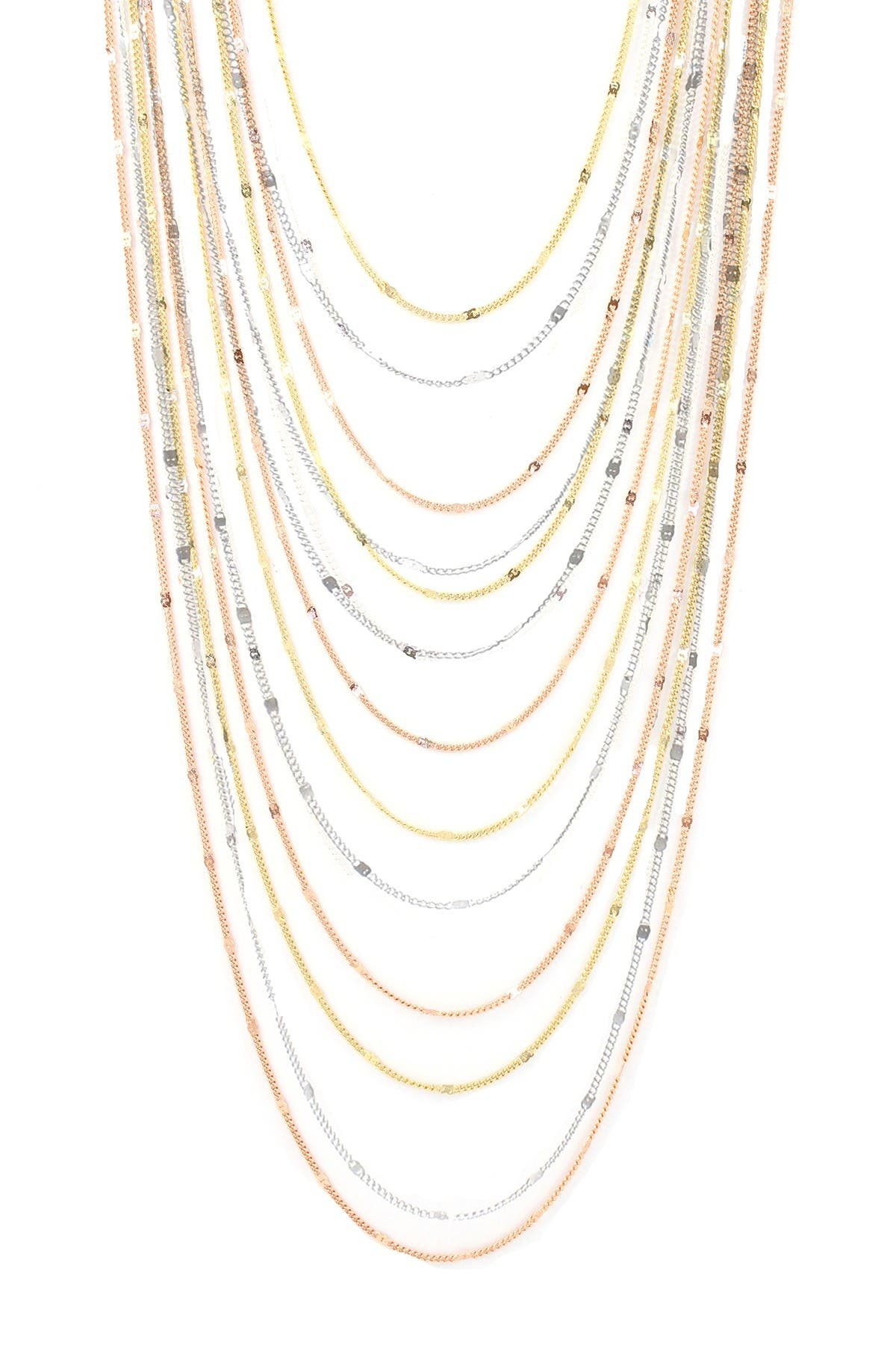 Image of Savvy Cie 18K Gold Tri-Color Multi-Strand Layered Necklace