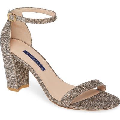 Stuart Weitzman Nearlynude Ankle Strap Sandal, Metallic