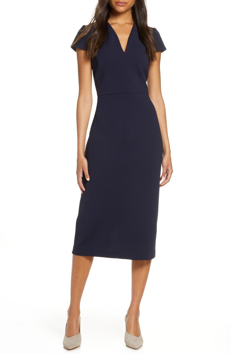 MAGGY LONDON Midi Sheath Dress, Main, color, NAVY