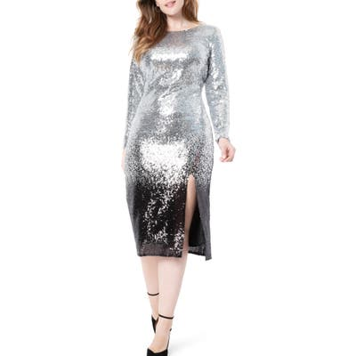 Plus Size Eloquii Ombre Sequin Long Sleeve A-Line Dress, Metallic