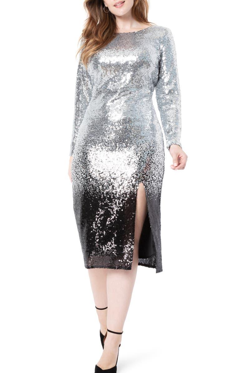 ELOQUII Ombré Sequin Long Sleeve A-Line Dress, Main, color, 040