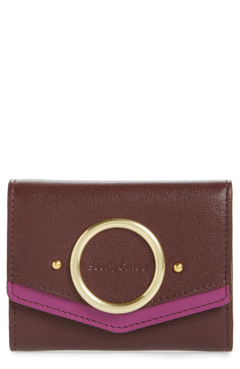 SEE BY CHLOÉ Small Aura Leather Wallet, Main, color, BURGUNDY