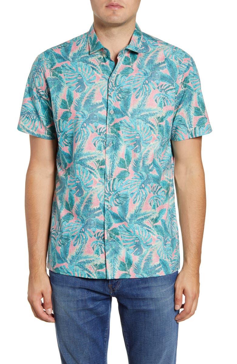 TORI RICHARD Leaf Relief Regular Fit Short Sleeve Button-Up Shirt, Main, color, 001