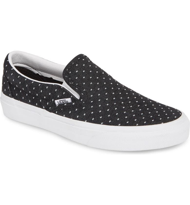 VANS Classic Slip-On Sneaker, Main, color, BLACK/ TRUE WHITE/ WHITE