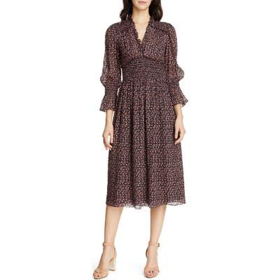 Rebecca Taylor Floral Smock Detail Long Sleeve Silk & Cotton Dress, Blue