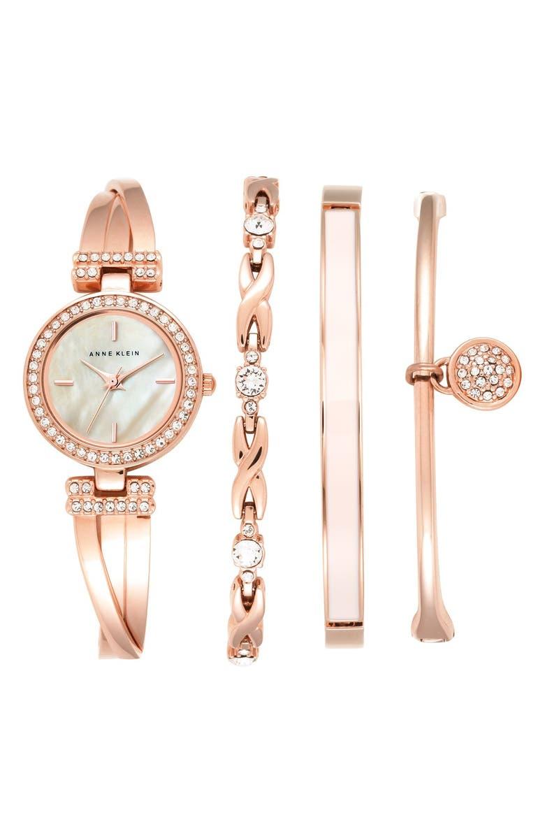 ANNE KLEIN Boxed Bracelet & Bangle Watch Set, 24mm, Main, color, 711
