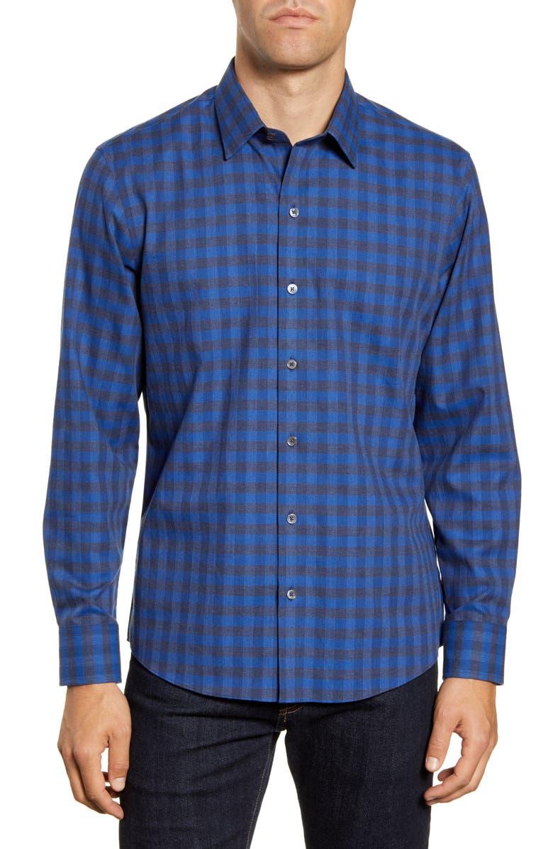 ZACHARY PRELL Lieberman Regular Fit Check Sport Shirt, Main, color, ROYAL