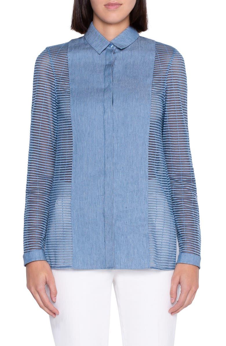 AKRIS Grid Sleeve Gabardine Shirt, Main, color, LIGHT DENIM
