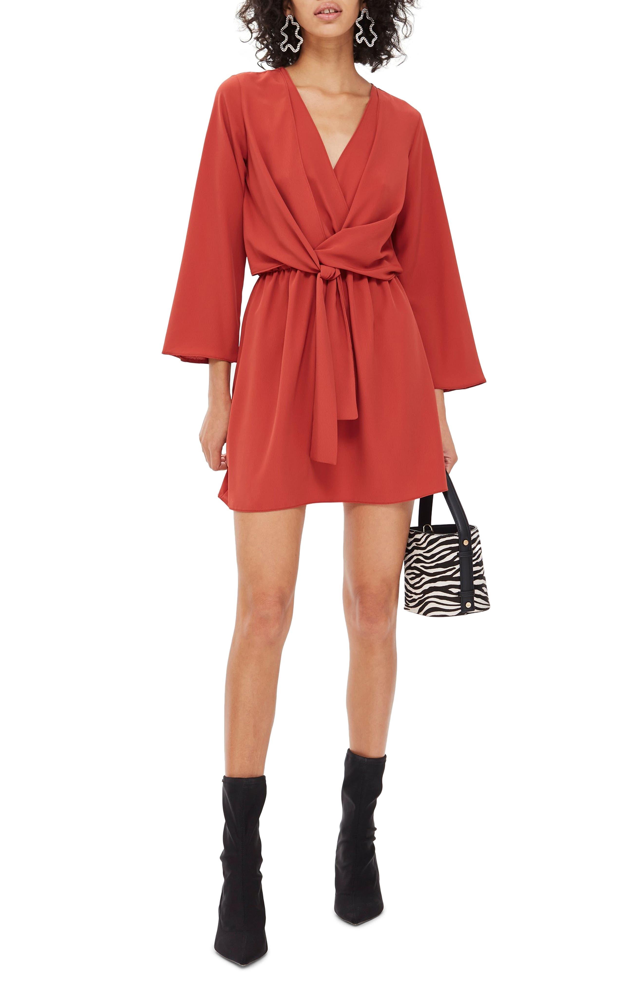 Tiffany Knot Minidress, Main, color, RUST