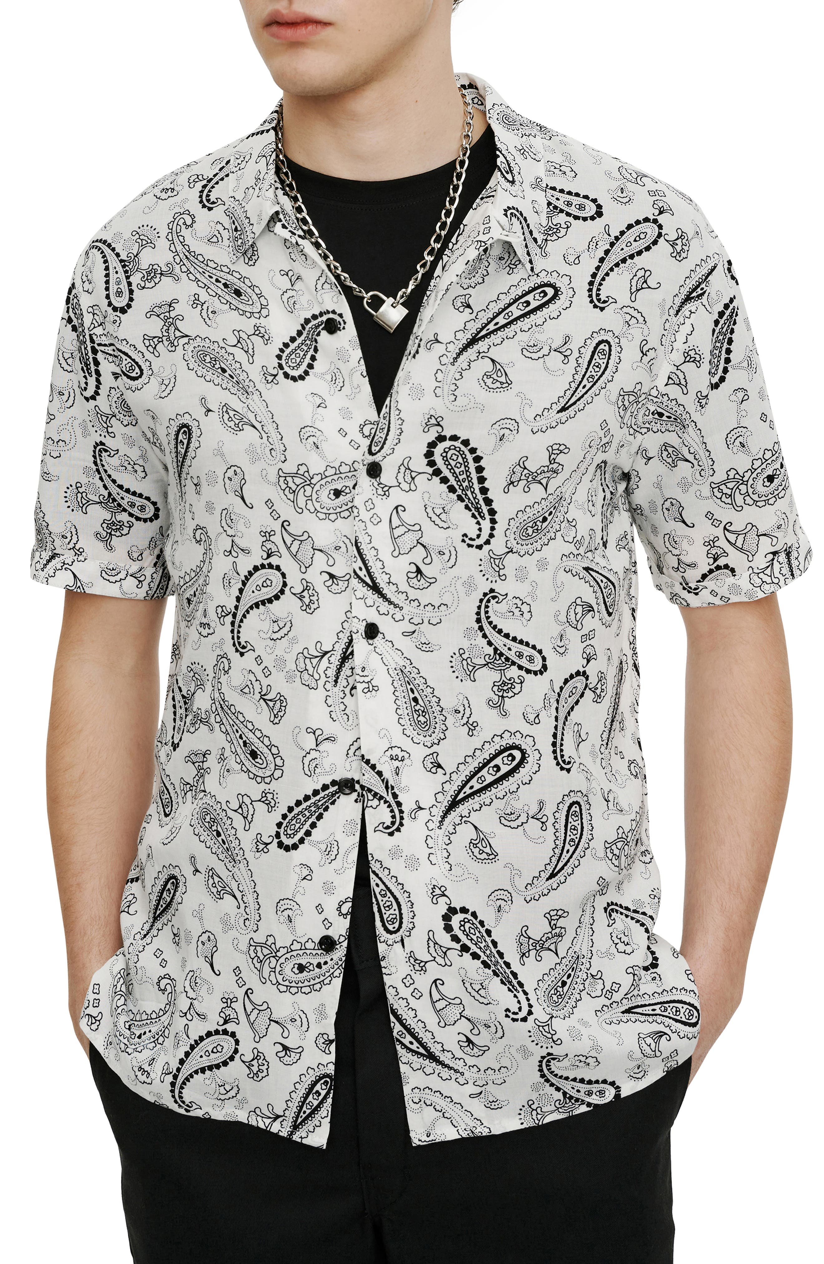 Slim Fit Paisley Short Sleeve Button-Up Shirt