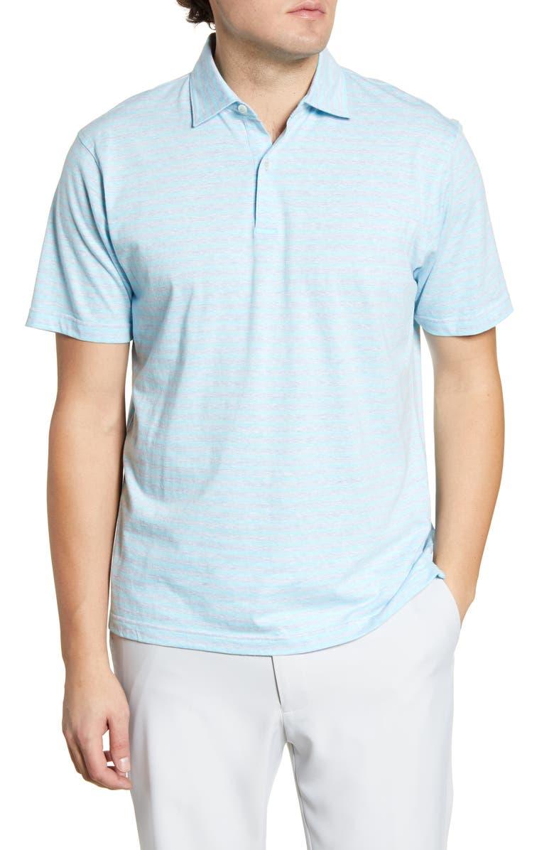 PETER MILLAR Solstice Stripe Cotton & Linen Polo, Main, color, BLEUET/ ARGENTO